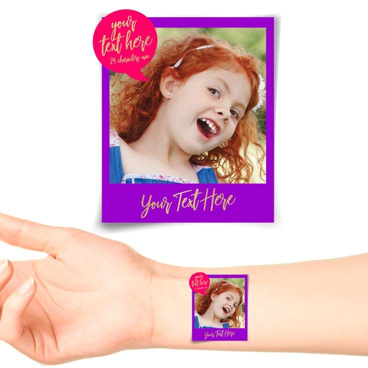 Purple Polaroid Photo Personalised Tattoo #1179 (20 pack)