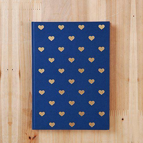 Diario en Corazón Gold Foil en color Azul Marino (Puede ser usado como Diario o Planificador) • Cuaderno • Diario • Regalo para Novia • Regalo de Navidad • Planificador de Viaje • Diario de Viaje • Bloc de Notas • Planificador Anual • 2017