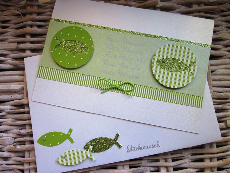 taufkarte fische grün weiß green white fish in worte gefasst stampin up