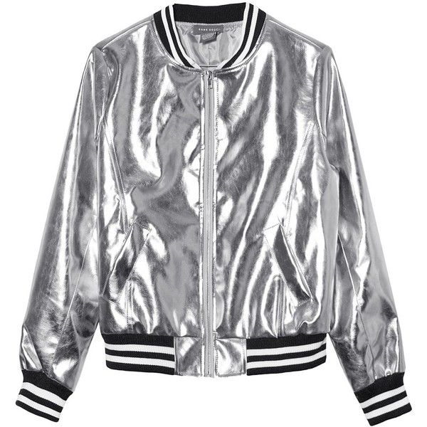 Sans Souci Silver metallic vegan leather bomber jacket (215 AED) ❤ liked on Polyvore featuring outerwear, jackets, silver, zipper jacket, synthetic leather jacket, zip jacket, fleece-lined jackets and bomber jacket