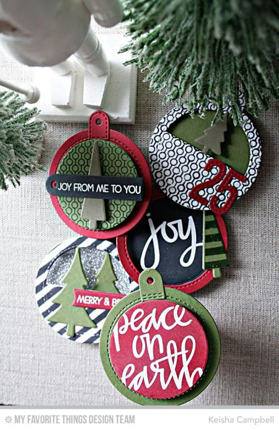 Handmade tags from Keisha Campbell featuring Merry Everything and Hand Lettered Christmas stamp sets, Oh Christmas Trees stamp set and Die-namics, Lined Up Dots Background stamp, Stitched Numbers and Tag Builder Blueprints 6 Die-namics, and Diagonal Stripes stencil #mftstamps