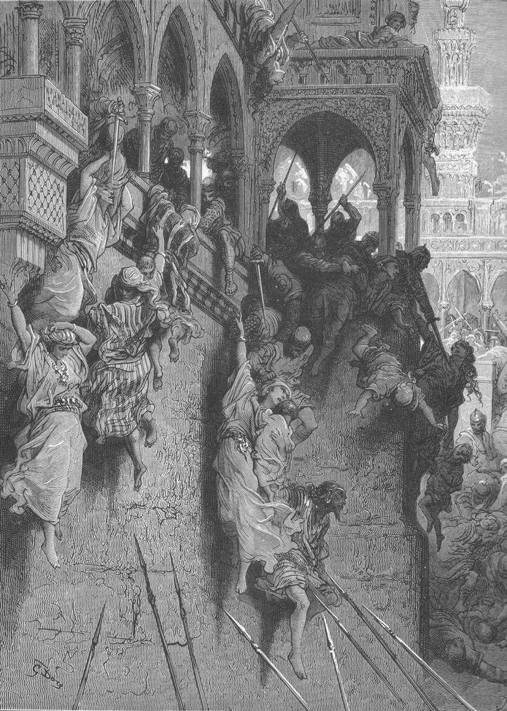 Entre a Cruz e a Espada - A Primeira Cruzada e a queda de Jerusalém - História Ilustrada Gravura ilustrando o massacre de Antioquia, onde a população judaica e muçulmana fora perseguida e morta pelos cruzados. Um prelúdio para o que aconteceria à Jerusalém. (Gustave Doré - 1853 - 1883)