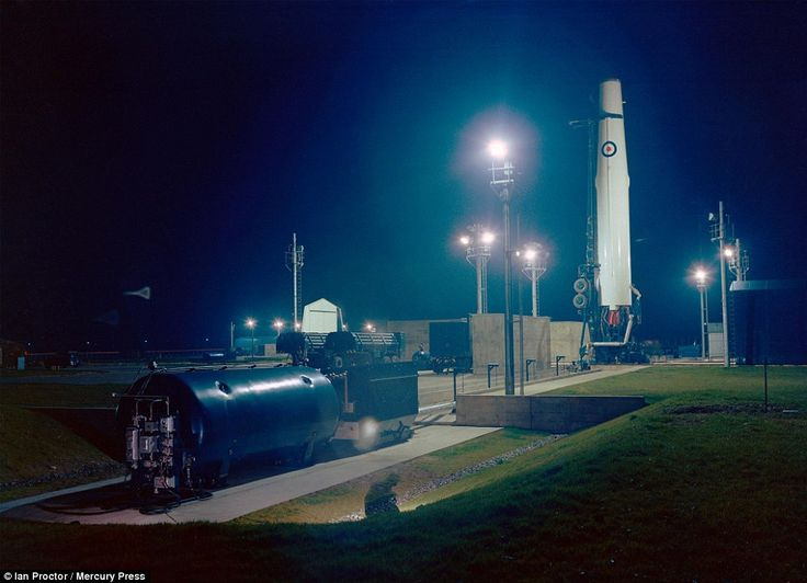 Secrecy: This eerie photo shows a nuclear Thor missile countdown exercise at night at RAF Feltwell, Norfolk, in November 1958