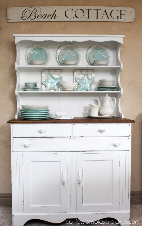 farmhouse hutch makeover, painted furniture, repurposing upcycling