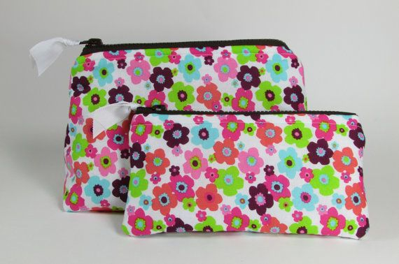 Cosmetic Bag Set of Two Multicolored Floral Pattern Handmade Makeup Bag Toiletry Bag Zipper Pouch Cosmetic Case