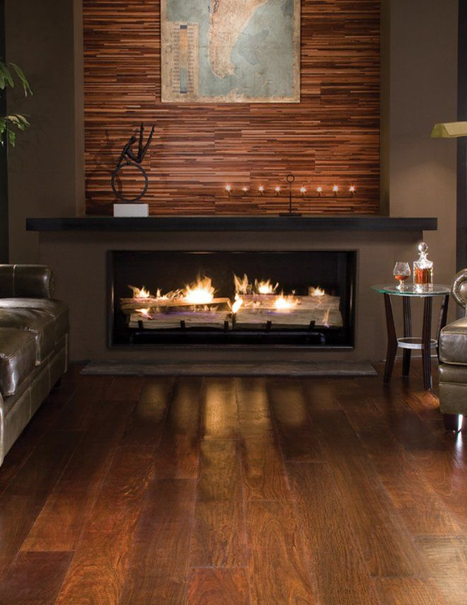 BR-111 Exotic Hardwood Flooring. Wow, that fireplace! and the wall treatment....love it!                                                                                                                                                                                 More
