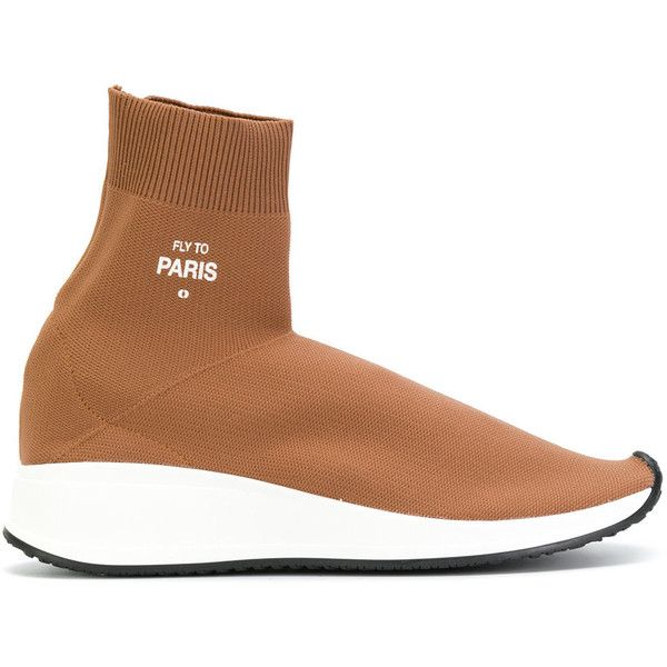 Joshua Sanders sock detail sneakers ($369) ❤ liked on Polyvore featuring shoes, sneakers, brown, leather trainers, brown sneakers, leather shoes, brown leather sneakers and joshua's shoes