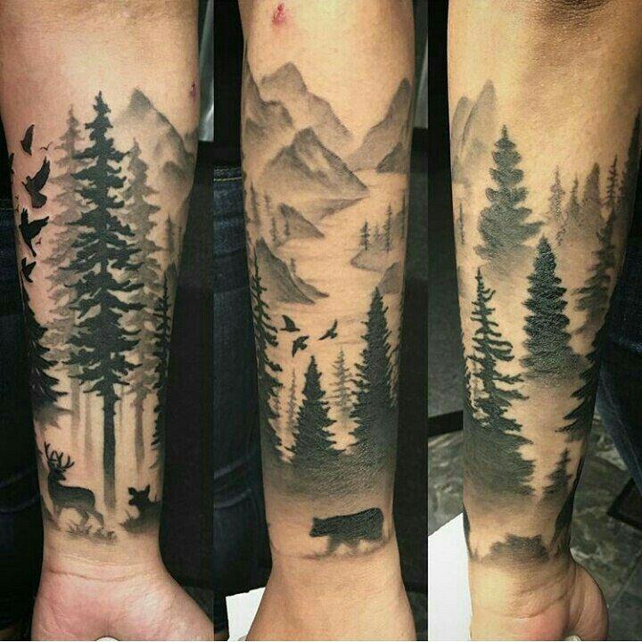 Resultado de imagen para bosque tattoo puntillismo