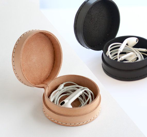 Small leather collar case box pouch wallet for earphone