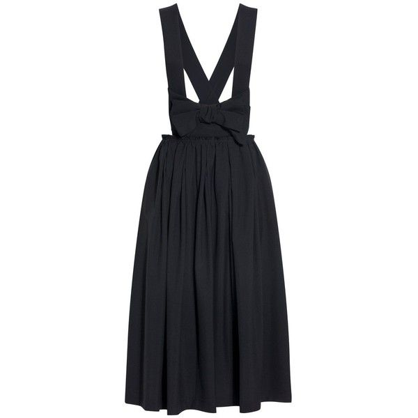 Comme Des Garcons Comme Des Garcons Dungaree Bow Skirt (7 045 SEK) ❤ liked on Polyvore featuring skirts, shirred skirts, gathered skirt, comme des garcons skirt, wool skirt and bow skirt