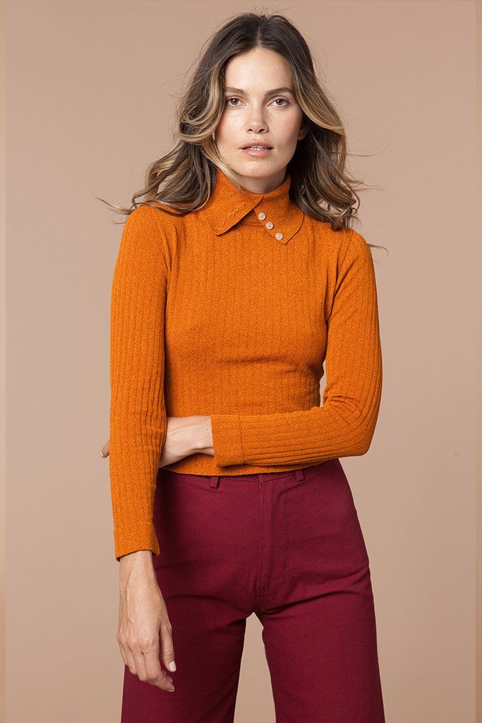 956d7111af46 Take It Easy 70 s Button Turtleneck