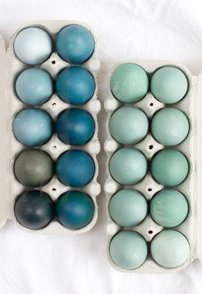DIY: Ostereier natürlich mit Rotkohl gefärbt – blau und grün – #blue #DIY …,  #blau #blue #…