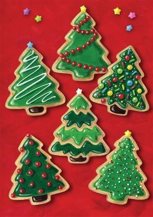 Christmas tree cookies - Love the middle one