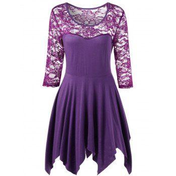 Plus Size Sheer Lace Insert Handkerchief Top - PURPLE XL