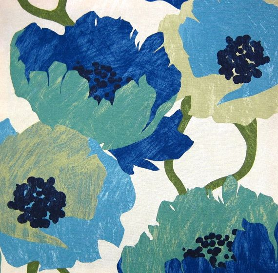 Modern Blue Upholstery Fabric   Floral Fabric by PopDecorFabrics