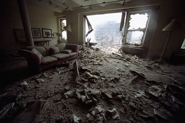 Ruined Apartment    Photograph by Todd Maisel, NY Daily News via Getty Images    Seen on September 14, an apartment on Liberty Street in lower Manhattan is a burned-out shell following the collapse of the World Trade Center during the 9/11 attacks.    Thousands of residents were forced to evacuate the area when the disaster left their homes uninhabitable.