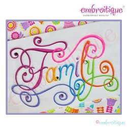 Family Calligraphy Script, Small - 5 Sizes!   Words and Phrases   Machine Embroidery Designs   SWAKembroidery.com Embroitique