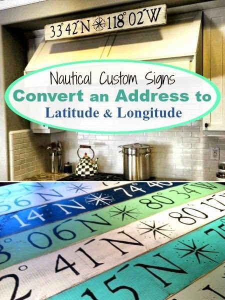 Personalized Nautical Signs with Latitude and Longitude. Featured on CC: http://www.completely-coastal.com/2014/11/personalized-nautical-gifts.html