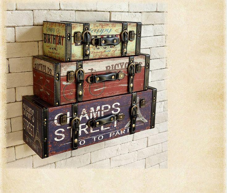 Старинные искусственная багажа чемодан живопись ktv декоративная отделка стен купить на AliExpress