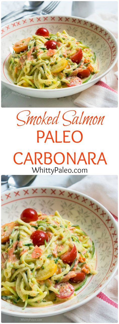Paleo Smoked Salmon Courgette Carbonara - gluten free and dairy free. Delicious courgettes (zuchinni) in a creamy white sauce with smoked salmon and cherry tomatoes. Quick dinner in 10 minutes + no eggs!
