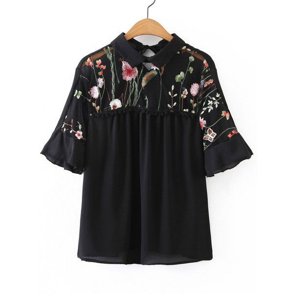 SheIn(sheinside) Elbow Sleeve Contrast Mesh Pom Pom Detail Blouse (€14) ❤ liked on Polyvore featuring tops, blouses, black, elbow sleeve tops, mesh blouse, embroidered blouse, short sleeve tops and ruffle collar blouse