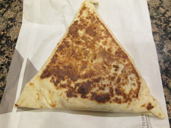 The Grilled Stuft Nacho from Taco Bell, from the outside.