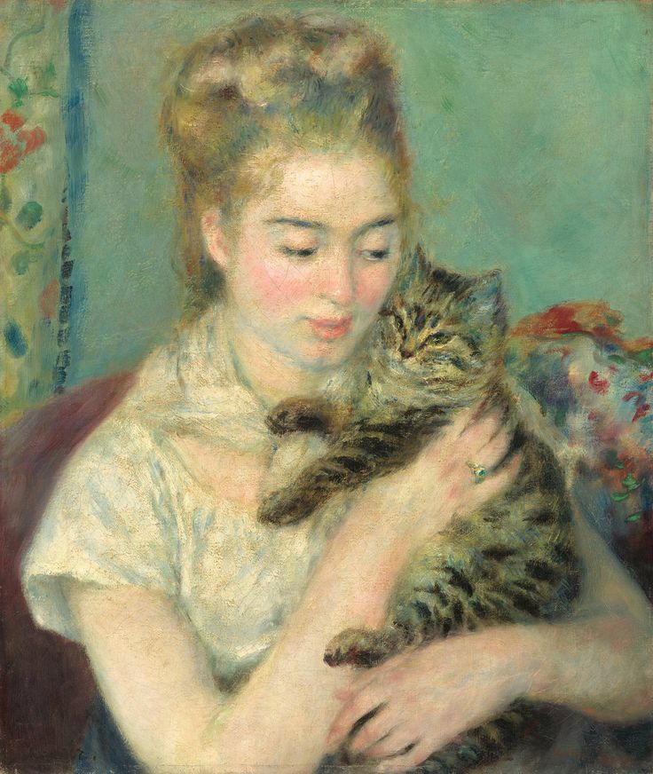Pierre-Augusts Renoir (French, 1841-1919). Woman with a Cat, c. 1875. Oil on canvas.