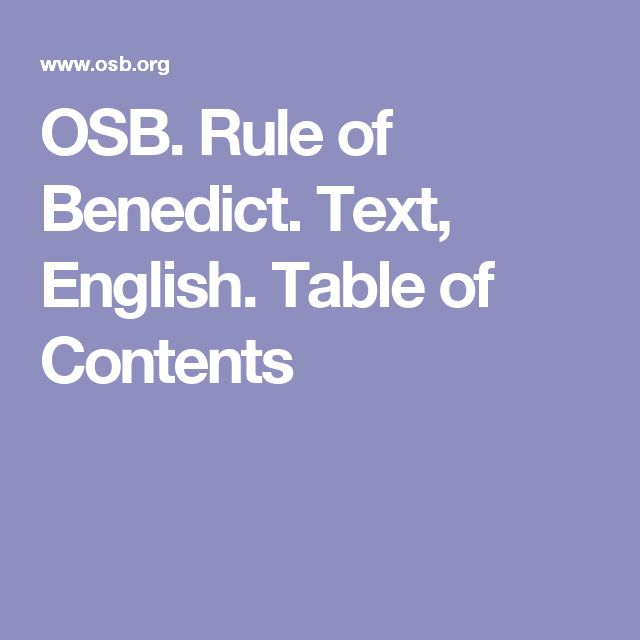 OSB. Rule of Benedict. Text, English. Table of Contents