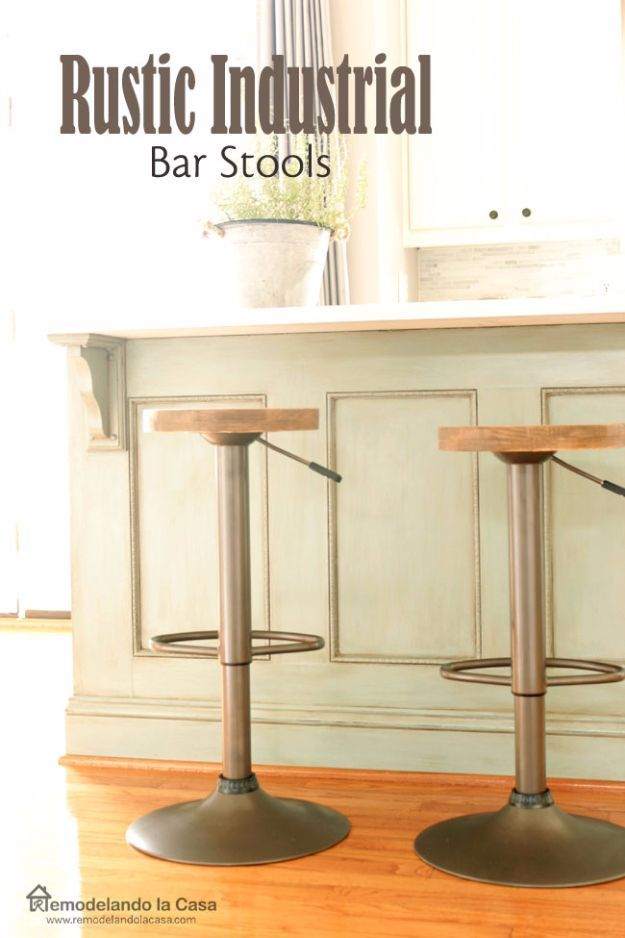 DIY Barstools - Rustic Industrial Bar Stools - Easy and Cheap Ideas for Seating and Creative Home Decor - Do It Yourself Bar Stools for Modern, Rustic, Farmhouse, Shabby Chic, Industrial and Simple Classic Decor - Do It Yourself Dining Room Seating Complete With Step by Step Tutorials http://diyjoy.com/diy-barstools