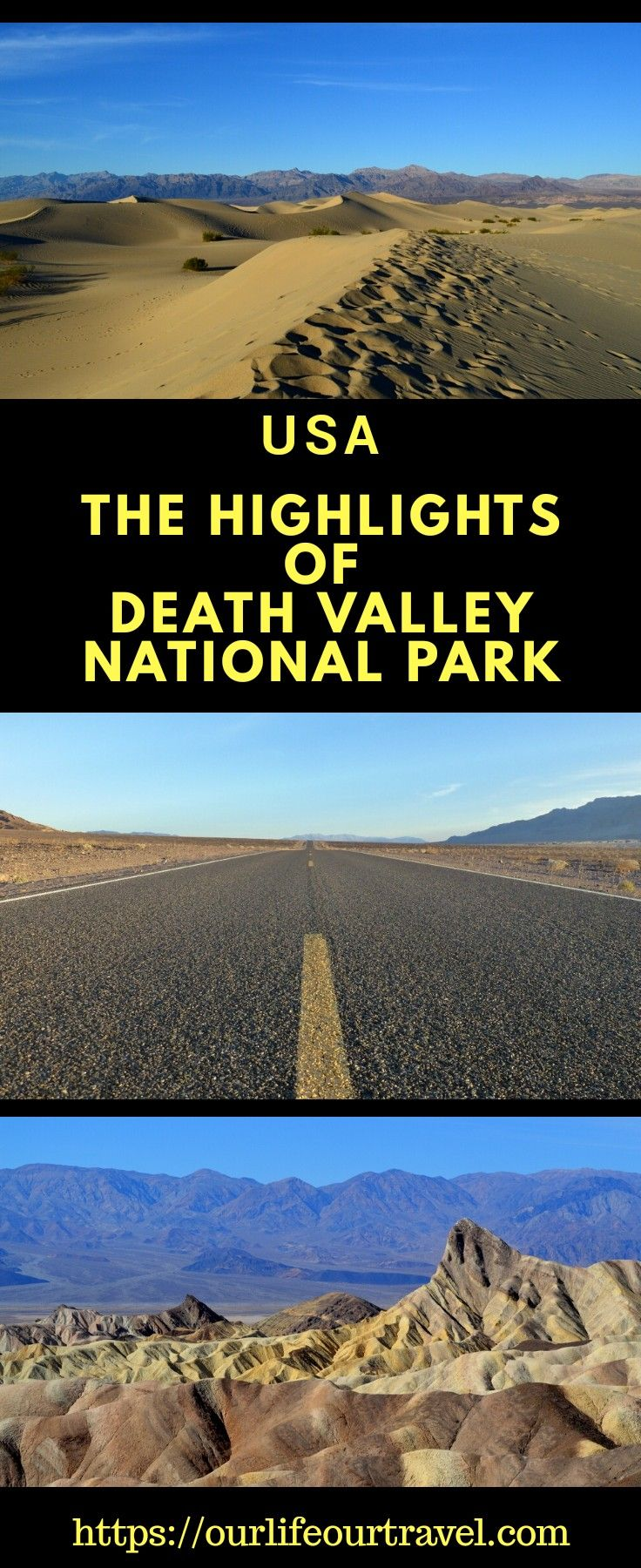 Best spots on a weekend at the Death Valley National Park, USA Do you plan a road trip and want to see the highlights?  #weekend #deathvalley #usa #nationalparks #attractions