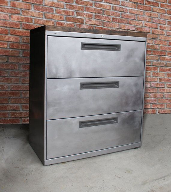 Refinished 3 Drawer Metal Filing Cabinet / Industrial Dresser Solid Wood Top / Office Storage Cabinet / Rustic