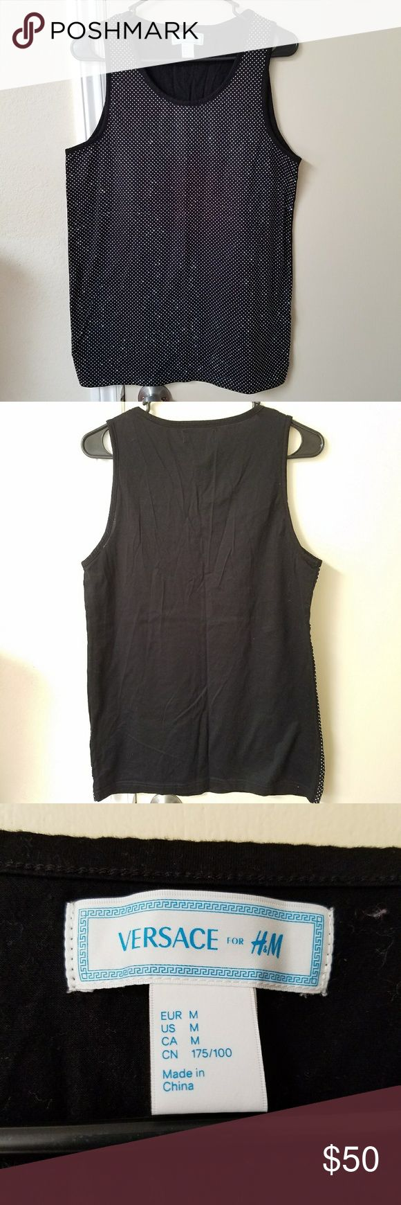 "Versace for H&M Mens Studded Tank Top Versace for H&M Mens studded tank top.  Black, size Medium  Tank top looks and feels like it has never been worn or washed.  Item could be new without tags, but I am the second owner and cannot back this up.  Approximate measurements (lying flat, unstretched): Length: 28"" Waist and hip: 18.5"" Armpit to armpit: 18"" Versace for H&M Shirts Tank Tops"