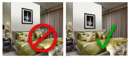 "How High / How Low?  As a general rule, the bottom of your frame should hang 8"" to 10"" above the headboard. If you hang your artwork any higher it will look like it's floating away from the headboard instead of being connected to it."