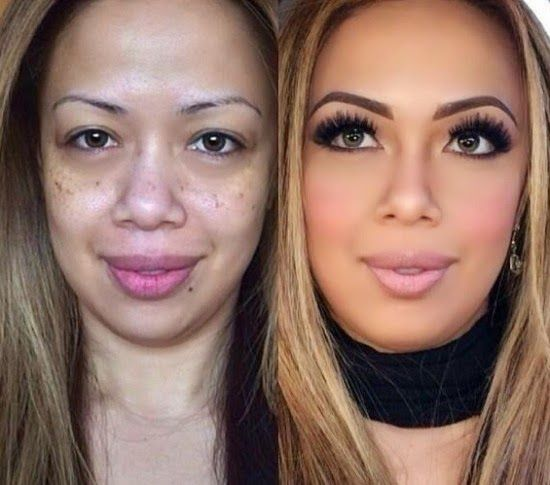 Woman before and after makeup join. was