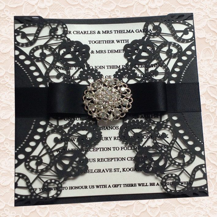 super unique laser cut wedding invitations%0A weddings favor on sale at reasonable prices  buy Diamante Embellished Black  Doily Laser Cut Wedding Invitations from mobile site on Aliexpress Now
