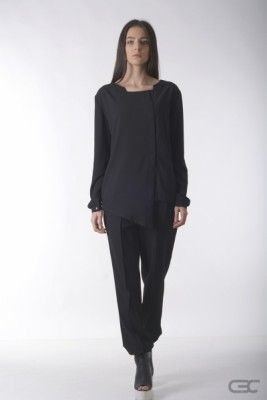 Crepe Black Collar asynmetric black shirt and black loose pants. Check out the online shop for details.