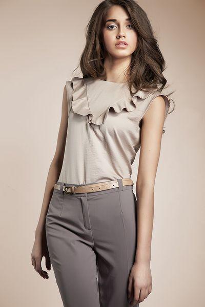 Bluzeczka+z+falbanką+-+beż+w+NIFE+Fashion+na+DaWanda.com