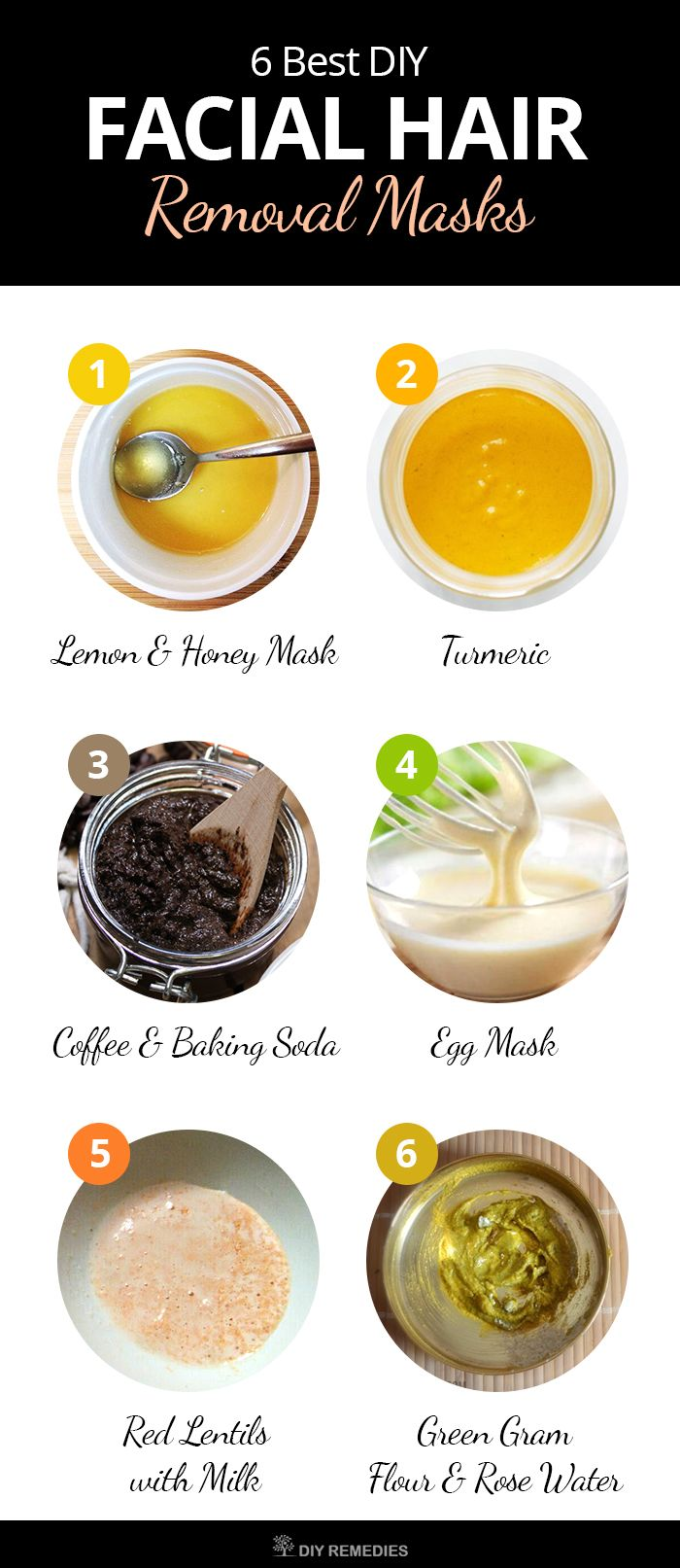 DIY Homemade Facial Hair Removal Masks    Natural remedies will definitely work well and the only thing we need is to stick to the routine. Have a look at some effective unwanted facial hair removal masks and try it to enjoy smooth skin.  #DIYRemdies