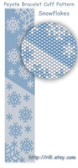 Snowflakes winter fashion Pattern Peyote Bracelet by rill