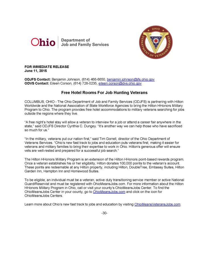Worldwide And The National Ociation Of State Workforce Agencies To Bring Hilton Hhonors Military Program Ohio Provides Free Hotel