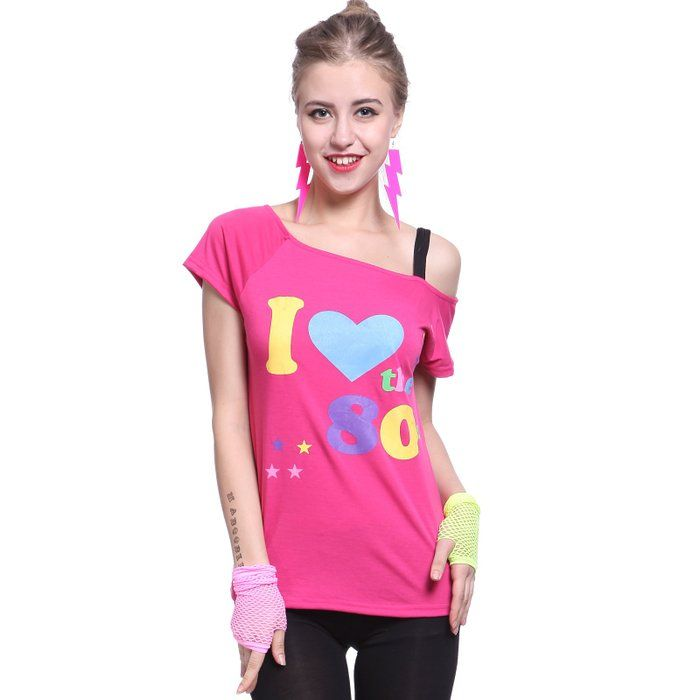 Fever 80s Pop Star I love the 80s T shirt Top Costume Pink Ladies Fancy dress