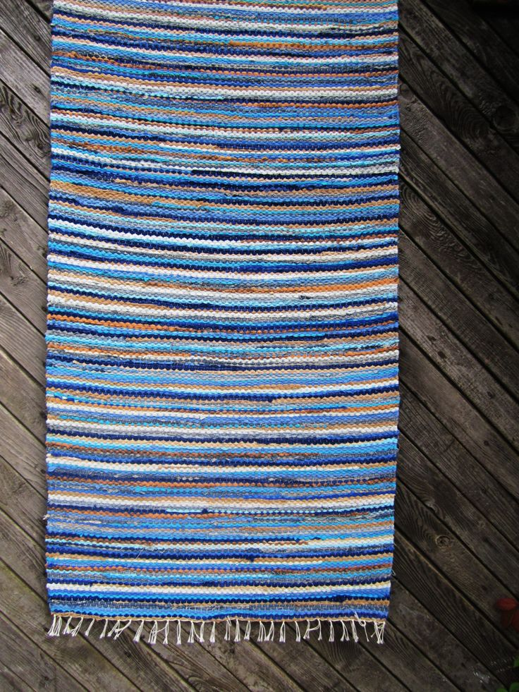 Handwoven, Scandinavian style,  vintage look,  rag rug -2.26' x 5,38',blue, beige, ready for sale by Gunaspalete on Etsy https://www.etsy.com/uk/listing/458787946/handwoven-scandinavian-style-vintage