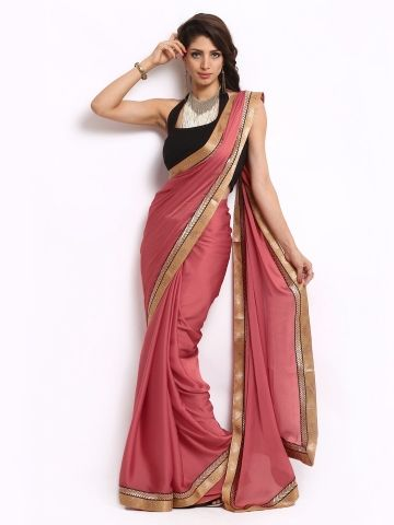 Mysilk Dark Peach Chiffon Fashion Saree | Myntra