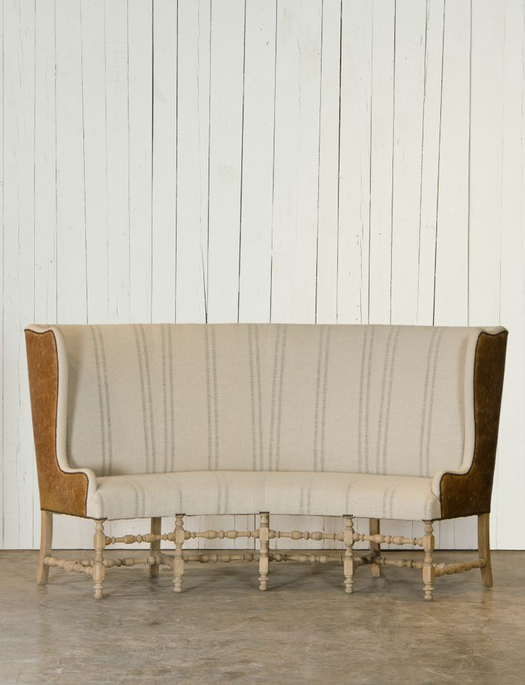 High back settee upholstered by Ralph Lauren