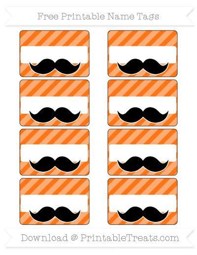 Pumpkin Orange Diagonal Striped Mustache Name Tags