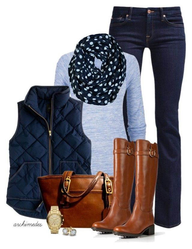 """""""Blue Polka Dots"""" by archimedes16 ❤ liked on Polyvore featuring 7 For All Mankind, maurices, J.Crew, Coach, Salvatore Ferragamo, Michael Kors and Blue Nile"""