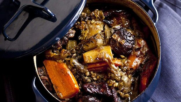 Karen Martinis braised lamb stew with barley and vegetables. Worth investing some time in.