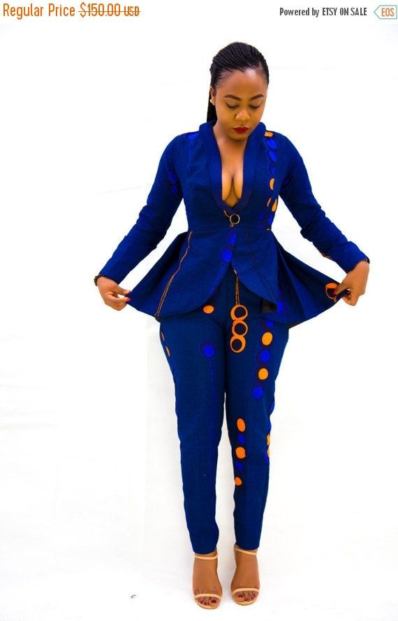 NuVu Jacket with Peplum and Pants, Black Friday Sales, Winter, Christmas, Ankara, African Print, African Clothing, African