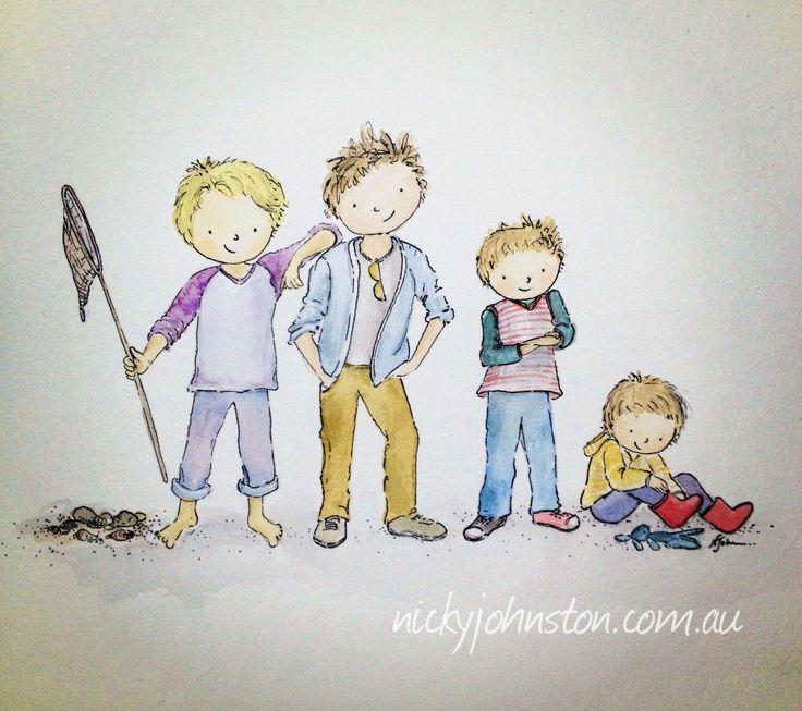 "52 Week Illustration Challenge - January ""KIDS"" | Nicky Johnston"