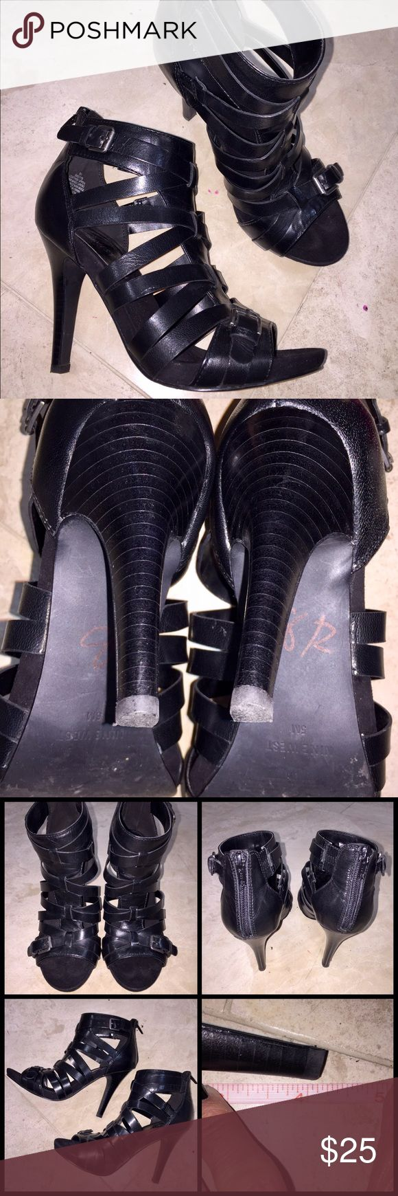 "REG3️⃣0️⃣Nine West Gladiator Heels Nine West Gladiator Heels in size 5 come in LIKE NEW condition. Only wore twice for a Halloween costume! Super sexy! 3.5"" across the top and a 4"" heel. My prices fluctuate from time to time. Catch items when the prices are low!❤️ Nine West Shoes Heels"